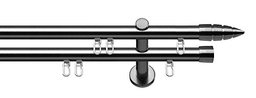 gardinenstangen innenlauf Tilldekor Innenlauf Gardinenstange MENORCA, 2-Lauf,  edelstahl optik, Ø 20 mm, 240 cm, inkl. Trägern und Gleitern