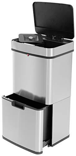 Hailo Öko Vario XL, Mülltrenner, Vollautomatische Deckelöffnung durch Sensortechnik, 50 Liter, 0656-001, Edelstahl, Kunststoff