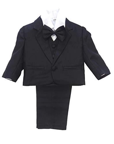 NG 5tlg. Taufanzug/Babyanzug / Anzug mit Smoking-Hemd für Jungen, schwarz, 68 (6 M)
