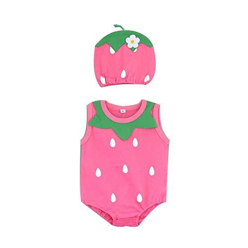 YaptheS Baby Mädchen Sommer Overall Kinder Boomers Boy Bodysuit Neugeborene Pullover Playsuit Kleinkind Kostüm für 66 cm Erdbeere - Erdbeer Kostüm Für Kleinkind