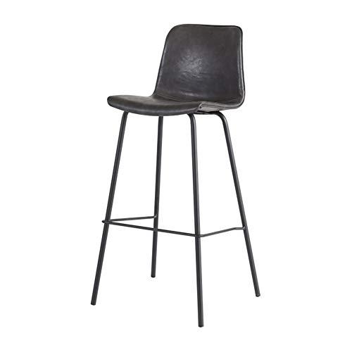 L.BAN Barhocker Rustikale Weinlese Retro Metal Leder Sitzmöbel im Industriestil Cafe mit hohem Rücksitz zum Frühstück Barhocker Küchentisch