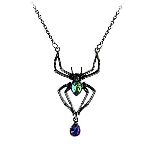 skette Hanging Green Diamond Anhänger Charme Spinne Dekoration Kristall Lange Kette Halskette ()
