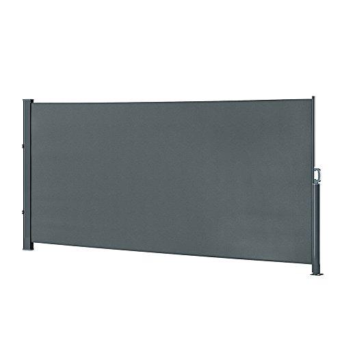 OSKAR ALU Seitenmarkise Sichtschutz Sonnenschutz Seitenrollo Markise 280g/m² (160x350cm, Anthrazit) -