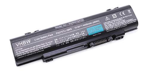 vhbw Li-Ion Akku 4400mAh (10.8V) für Notebook Laptop Toshiba Dynabook Qosmio F60-10H, F60-10J, F60-10K, F60-10L, F60-10U wie PA3757U-1BRS, PABAS213. -
