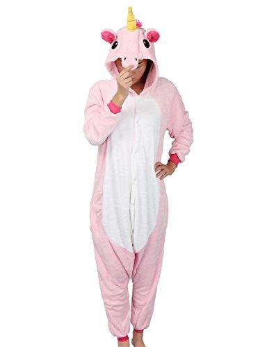Einhorn Kostüm Pyjama Jumpsuit Cosplay Schalfanzug Festliche Anzug Flanell Tierkostüm Kartonkostüm Tierschalfanzug(XL,rosa) - Mescara