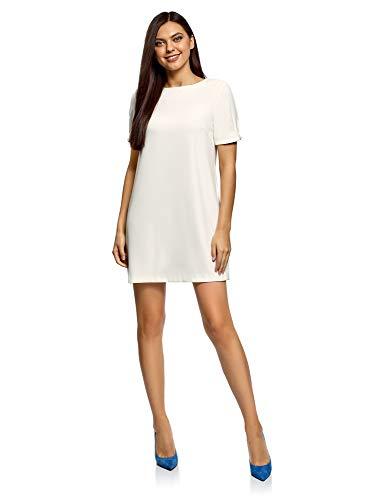 oodji Ultra Damen Kleid mit Rundhalsausschnitt und Perlen an den Ärmeln, Weiß, DE 32 / EU 34 / XXS (Shift-kleid Perlen)