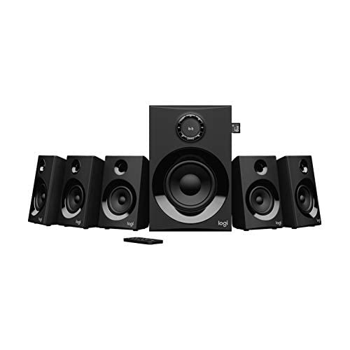 31IDI0Qnt1L. SS500  - Logitech Z607 Wireless Bluetooth 5.1 Speaker System, Surround Sound, 160 Watts Peak Power, Booming Bass, 3.5mm Audio & RCA Inputs, USB, SD-Card, Remote Control, PC/TV/Smartphone/Tablet/Music Player