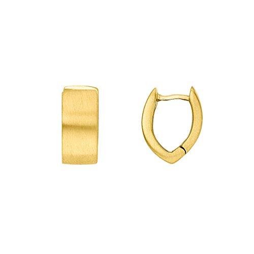 Heideman Creolen Damen Navette aus Edelstahl gold farbend matt Ohrstecker für Frauen mit Ohrclip Kreole