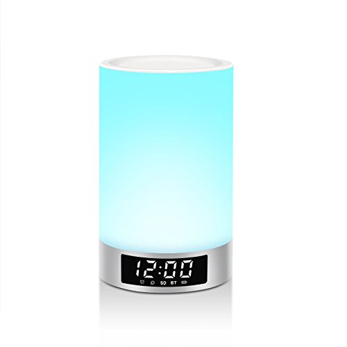 Mabor Lámpara LED Despertador Altavoz Inalámbrico Lámpara de Noche Regulable Multicolores, Reloj Multifuncional, Auricular Cronómetro Lámpara de Noche Regulable Automática Multicolor con Ranura de Tarjeta SD