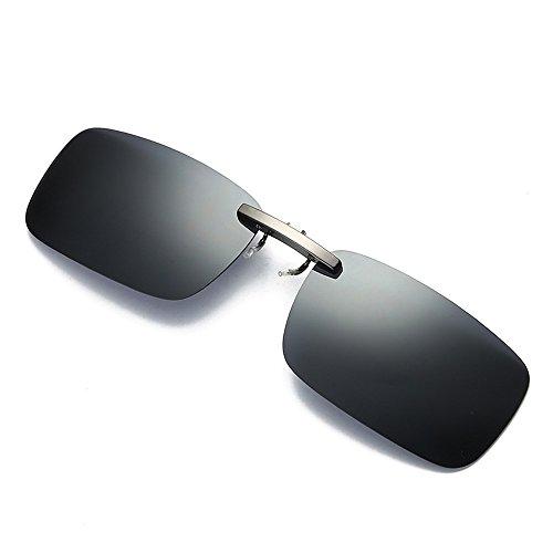 FRAUIT Herren Abnehmbare Nachtsichtlinse Sonnenbrillen, die Metall polarisierten Clip auf Brille Sonnenbrillen fährt Auto Nachtsicht Brille: Nachtsicht-Brillenclip polarisiert UV400 (Clip Sonnenbrillen Auf Brillen Für)
