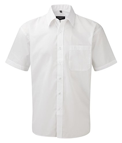 Russell Collection Men's Easy Care Poplin Short Sleeve Shirt Blanc