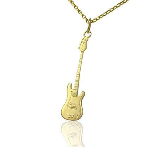 Massiccio 9ct oro Fender Precision Bass Guitar Ciondolo e Collana Regalo Per chitarristi lettori di Bassi e musicisti, misura A scelta Nome Colore Opzioni/Catena di '', Large 50mm Pendant only