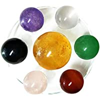 Set of 7 Crystal Balls Made of Yellow Calcite, Black Obsidian, Rose Quartz, Clear Quartz, Green Aventurine, Amethyst... preisvergleich bei billige-tabletten.eu