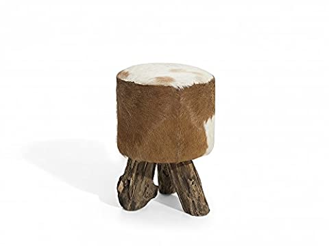 Stool - Ottoman - Footstool - Cow Design - Teak - Lamb leather - KENT