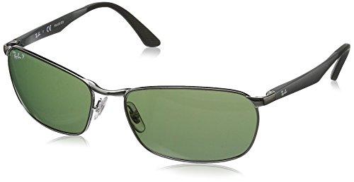 Ray Ban Unisex Sonnenbrille RB3534, Grau (Gestell: Gunmetal, Gläser: Polarized Grün Klassisch 004/58), X-Large (Herstellergröße: 62)