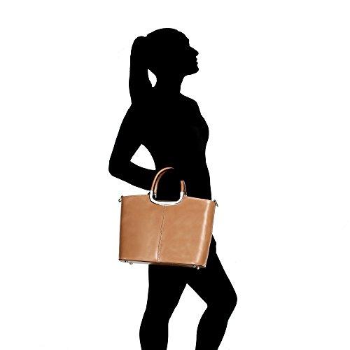 Borsa a Mano da Donna con Tracolla in Vera Pelle Made in Italy Chicca Borse 36x27x12 Cm Fango