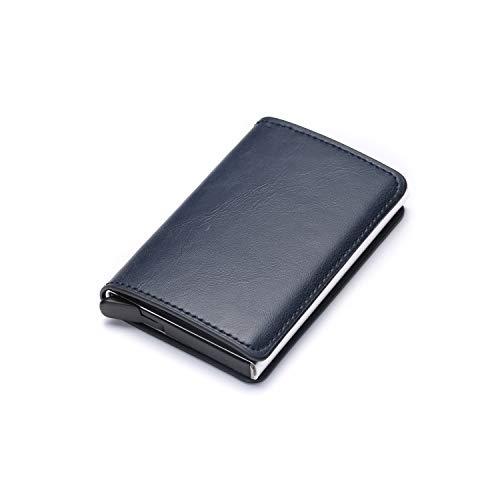 Daisy-Life X-12A Aluminium-Box Kreditkarten-Geldbörse mit RFID-blockierendem Schlankkarten-Halter, einfarbig, Blau -