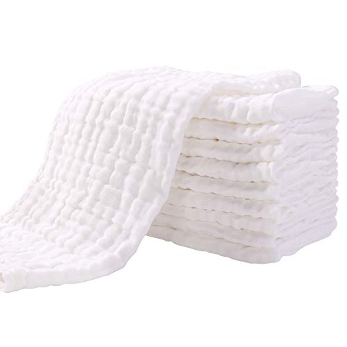 Muslin Squares 10 Pack Muslin Cloths 4 Layer Super Soft & Absorbent Baby Washcloths 100% Cotton 35x50cm by YOOFOSS