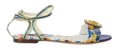 Dolce & Gabbana - Damen Sandalen - Majolica Crystal Leather Ankle Strap Flat Sandals - EU 39