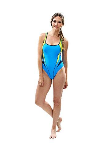 Aqua Sphere Lima Badeanzug Women's, Blau (Blue/Light Green), 36 EU (32 UK)
