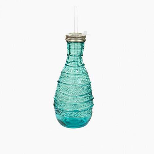 Eurowebb Trinkflasche aus recyceltem Glas, Handgefertigt, 1 Flasche mit Strohhalm