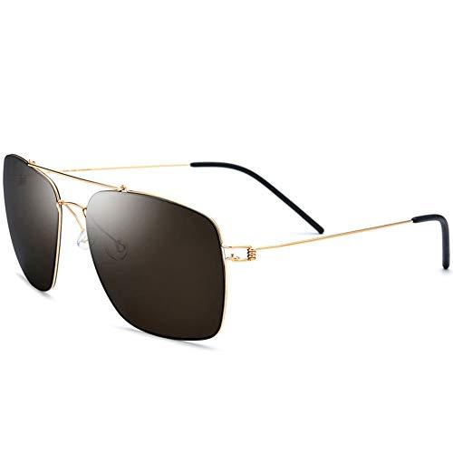 WULE-Sunglasses Unisex New UV400 Brown Sonnenbrillen Ultra Light Herren Rahmenlose Fahrspiegel Coole Damen Titan Large Frame Polarized Square Sonnenbrillen Damen