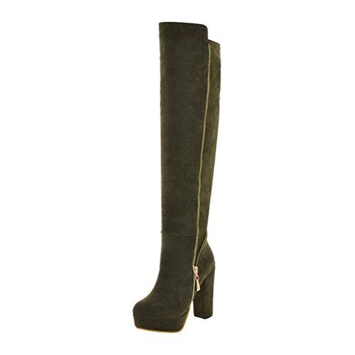 LUXMAX Donna Stivali sopra Il Ginocchio Tacco Alto Blocco Platform Scarpe con Cerniera High Heels Boots (Army Green) - 38 EU