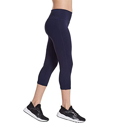 COOLOMG Damen Leggings Yoga Capris 3/4 Hosen Kompression Sport Trainingshose Marineblau XL