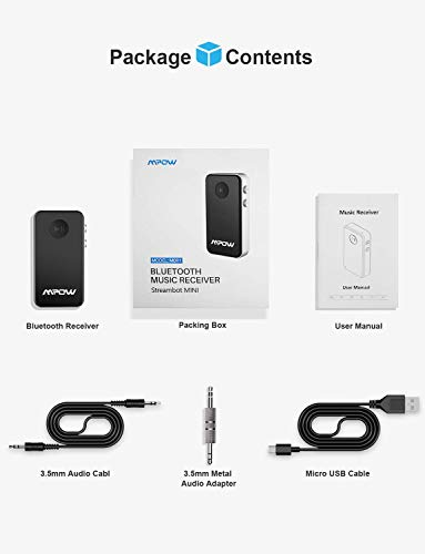 Mpow Bluetooth 4.0 Receiver A2DP Wireless Adapter for Home Audio & Car Kits with 3.5 mm Stereo Output for iOS & Android Smartphones (Black, Silver)