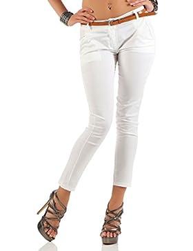 malito Pantalones-Capri con Cinturón por imitación Chino-Pantalones 5388 Mujer
