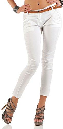malito Damen Chinohose mit Gürtel | Stretch Caprihose | schicke Freizeithose | Skinny - Slimfit - elegant 5388 (weiß, L) (5-pocket-stretch-capri)