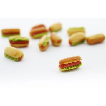 Dog Dekorationen Hot (Hot Dog Salat Miniatur Fimo – Dekoration Gourmande Modelliermasse,)