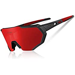 Queshark Polarized Cycling Glasses for MTB Bicycle Glasses with 5 Interchangeable Glasses UV400 (Red Black)