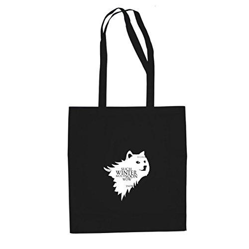 Doge Meme - Stofftasche / Beutel, Farbe: schwarz