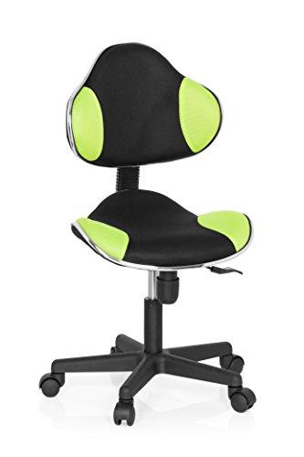 hjh OFFICE 634130 silla escritorio para niños KIDDY GTI-2 tejido negro / verde claro, ergonómico, altura ajustable, estable, silla giratoria, silla juvenil