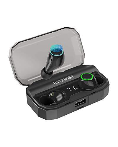 Bluetooth Kopfhörer, BlitzWolf Bluetooth V5.0 True Wireless drahtlose Ohrhörer Headset 40H Spielzeit mit 2600mAh Ladebox, digitaler Leistungsanzeige, Touch-Steuerung, eingebautem Mikrofon