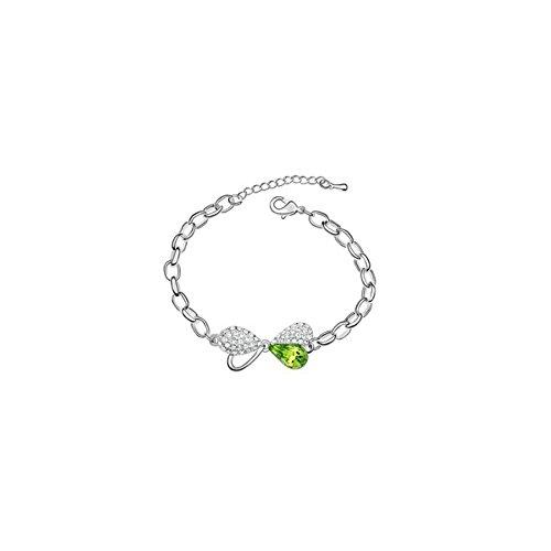 Bracelet noeud plaqué or blanc cristal swarovski elements Vert