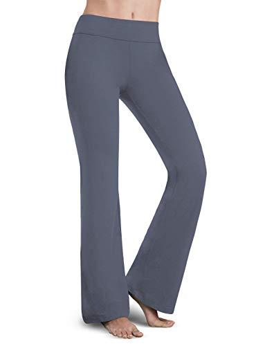 Bamans Bootleg Yoga-Hose, Damen, Bootcut-Yoga-Hose, Bauchkontrolle, Workout, Nicht durchsichtig, 4-Wege-Stretch, Yoga-Hose - Grau - XX-Large