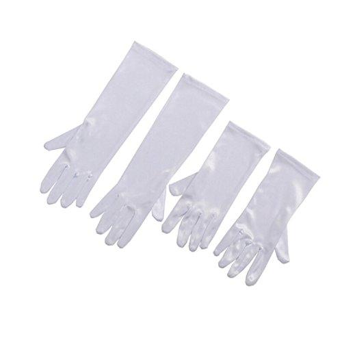 Audrey Hepburn Kinder Satin Weiß Handschuhe Flapper Halloween Zubehör Kostüm Alle Anlass Handschuhe für Mädchen (Alter 10+)