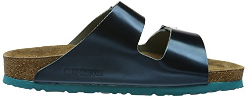 Birkenstock Damen Arizona Leder Softfootbed Pantoletten Grün (Metallic Green)