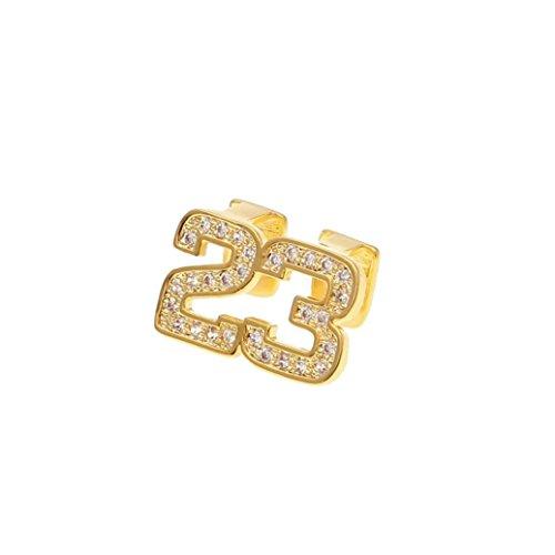 LANDFOX 24k Reales Gold überzogenes galvanisiertes CopperRhinestone Material 2 Zahn Gold-überzogene Hip Hop-Zahn-Kappe mit zahnmedizinischem Schmuck des Diamanten (Gold) -