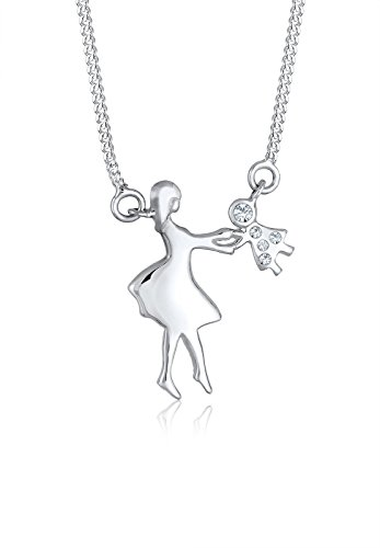 Elli Kinder Echtschmuck Halskette Silberkette Set mit Anhänger Mutter und Kind Kids Tanzende Menschen Liebe Verbundenheit Swarovski Kristall Sterling Silber 925 - 45cm Länge -