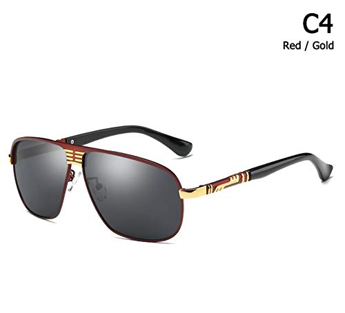 Sonnenbrille,Mode Men Cool Aviation Style Sonnenbrille Fahren Design Sonnenbrille Rötlich Schwarz