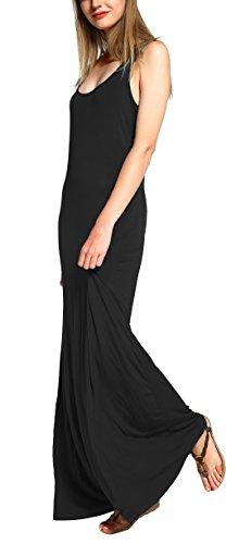 Urban GoCo Damen Ärmellos Langes Top Stretch Maxi Kleid (XL, Schwarz) -