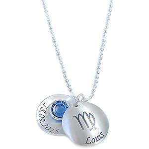 Echt Silber Sternzeichen Anhänger und Kette inkl. Wunschgravur Namenskette Medaillon GONA24