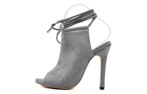 LvYuan-mxx Chaussures femmes talons hauts / Printemps été / laçage sexy / Bureau & Carrière Soirée & Soirée / talon aiguille / sandales GRAY-US85EU39UK65CN40