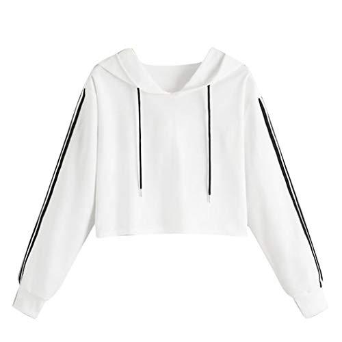 Mymyguoe Pulli Mädchen, Damen Bauchfrei Pullover Langarm Sweatshirt Kurz Sport Crop Tops Oberteile Sweatjacke Shirts Hemd Bluse Frauen Hoodies Beiläufiges Sweatshirt[A4-Weiß,S] -