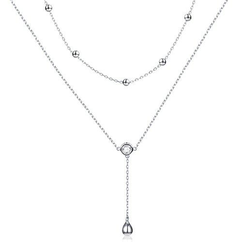 DAOCHONG Sterling Silber Teardrop Double Layered Halskette Y Kette Halskette für Frauen Mädchen