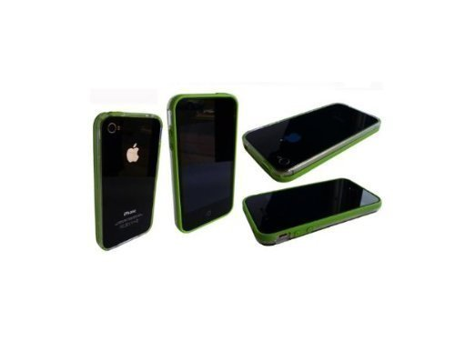 Avcibase 4260310641577 Bumper Silikon TPU Schutzhülle für Apple iPhone 4/4S grün/klar