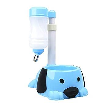 Gamelle Chien Chat 2 en 1 Distributeur Automatique d'eau Nourriture Croquette Bol, Plastique Verticale Buveurs Alimentateur Les Petits Animaux, Bleu